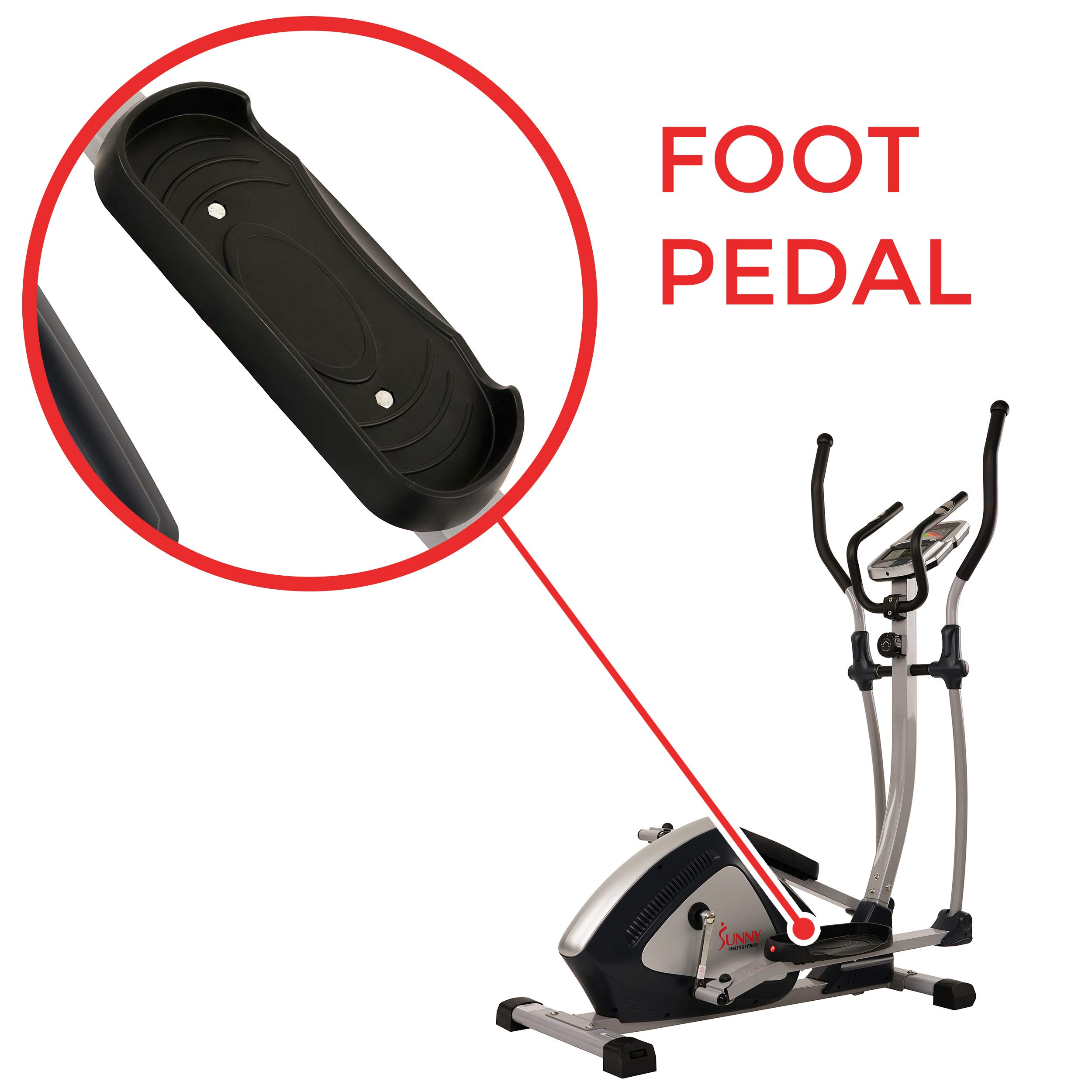 Sunny Health & Fitness Magnetic Elliptical Trainer Elliptical Machine w/  LCD Monitor and Heart Rate Monitoring - Endurance Zone - SF-E3804 by Sunny Health & Fitness (Image #7)