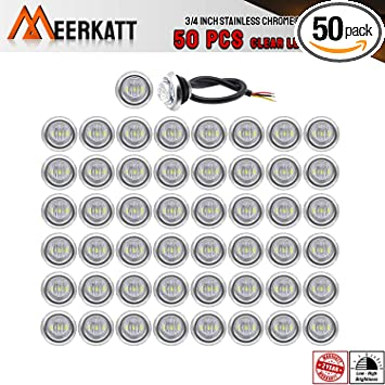 Pack of 50 Smoked Lens 3//4 inch Bullet Side Led Marker Trailer lights Clearance Indicator 12V DC Madcatz Amber Light