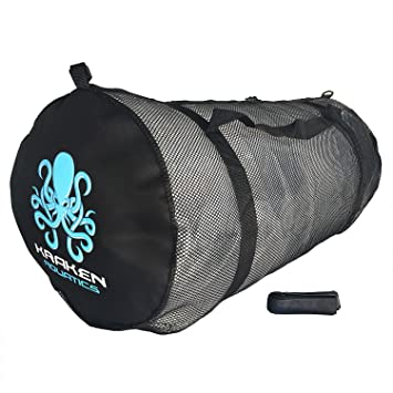 Kraken Aquatics Mesh Duffle Gear Bag with Shoulder Strap | for Scuba Diving, Snorkeling, Swimming, Beach and Sports Equipment