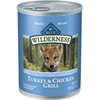 Blue Buffalo Wilderness High Protein Grain Free, Natural Puppy Wet Dog Food, Turkey & Chicken Grill 354G Can (Pack Of 12…