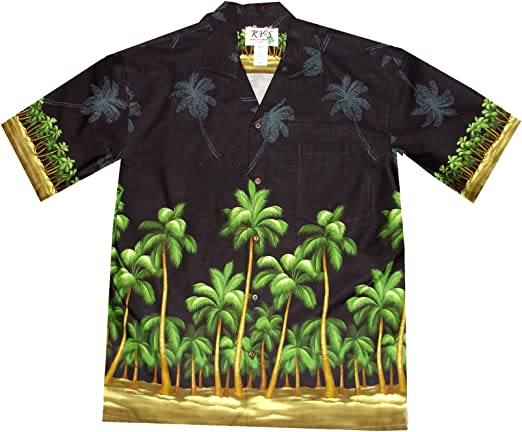 Made in Hawaii Mens Hawaiian Shirt Aloha Shirt in Surfboards and Palms in Blue