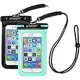 この防水携帯ケースには、Afaroffが2点入りました,IPX8防水規格認証に合格し、防水、防塵の性能を持っています,サーフィン、スキー、水泳、ダイブ、釣りなどの活動における撮影に適用します,iPhone、Sumsung、HUAWEIなど、サイズが6インチ以内のすべてのスマホをサポートし、保護します。