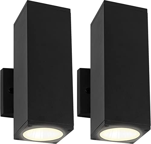LB78220 LED Dual Up and Down Rectangular Matte Black LED Wall Light Exterior Lighting, 24W, 5000K Daylight Glow, LED Porch Sconce, 2000 Lumens, Waterproof and Outdoor Rated, ETL-Listed, 2-Pack