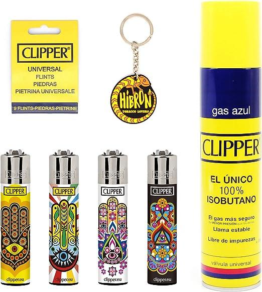 HIBRON Clipper 4 Mecheros Encendedores Diversos Surtidos Bonitos, 1 Carga Gas Encendedor Clipper 300 Ml,9uds De Piedra Clipper Y 1 Llavero Gratis 1-10003-1: Amazon.es: Hogar