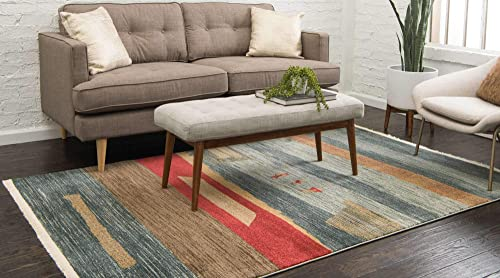Unique Loom Fars Collection Tribal Modern Casual Blue Area Rug 9 0 x 12 0