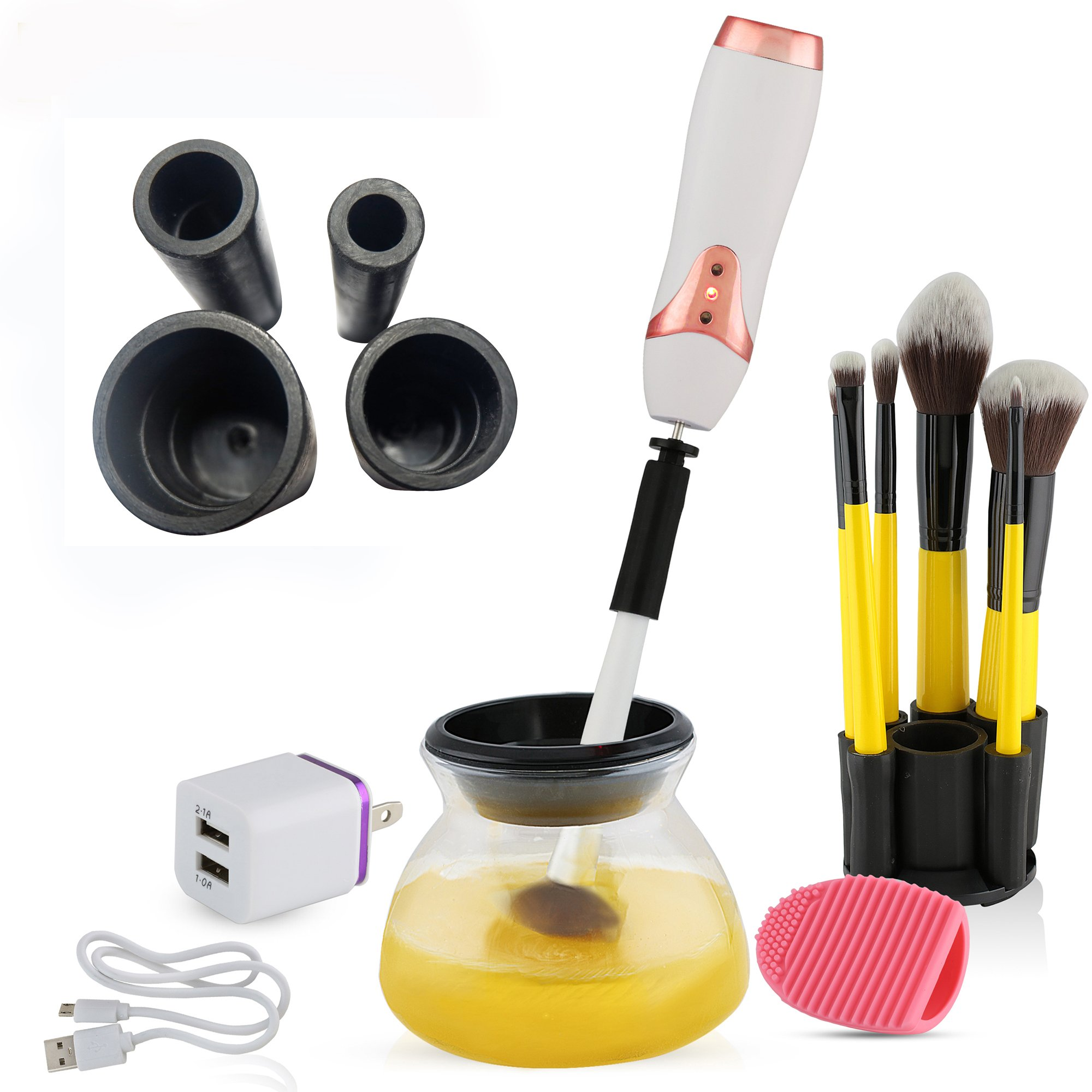 USB Rechargeable Makeup Brush Cleaner - Electronic Spinner Automatically Cleans Virtually ANY Brush Size in Exclusive New Patented Collar Design. Thoroughly Cleans and Dries your Brushes in Seconds.