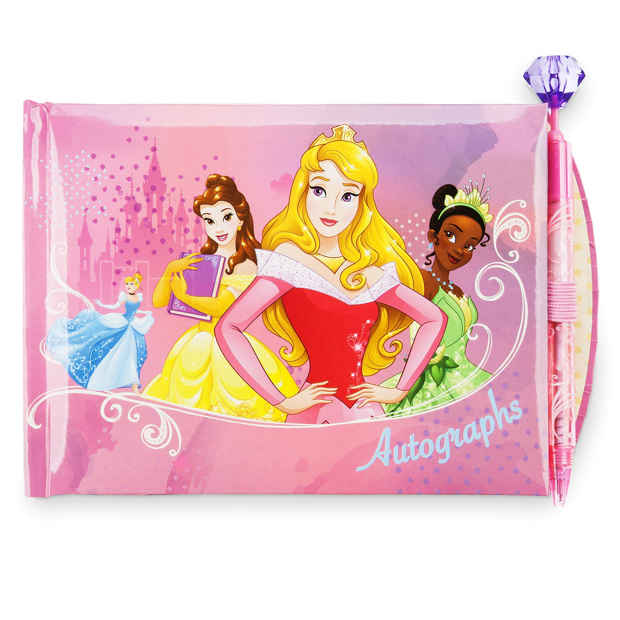 Disney Princess Autograph Book Featuring Cinderella, Belle, Aurora, Tiana, Jasmine, and Snow White Gemstone Topped Pen by Disney