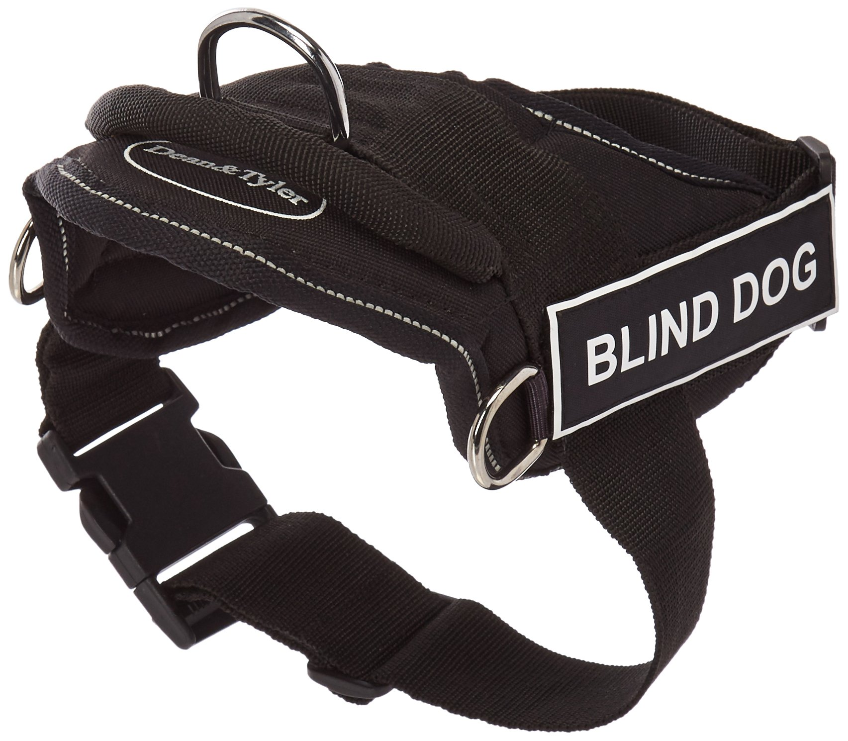 Dean & Tyler 22 by 27-Inch Blind Dog Harness with 6-Feet Padded Puppy Leash, Black