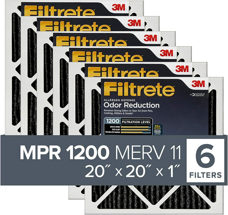 Filtrete MPR 1200 20x20x1 AC Furnace Air Filter, Allergen Defense Odor Reduction, 6-Pack