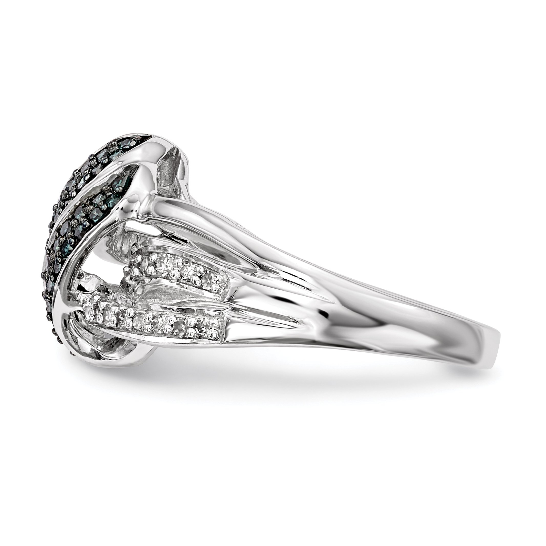 ICE CARATS 925 Sterling Silver White Blue Diamond Band Ring Size 6.00 Fine Jewelry Gift Set For Women Heart by ICE CARATS (Image #3)