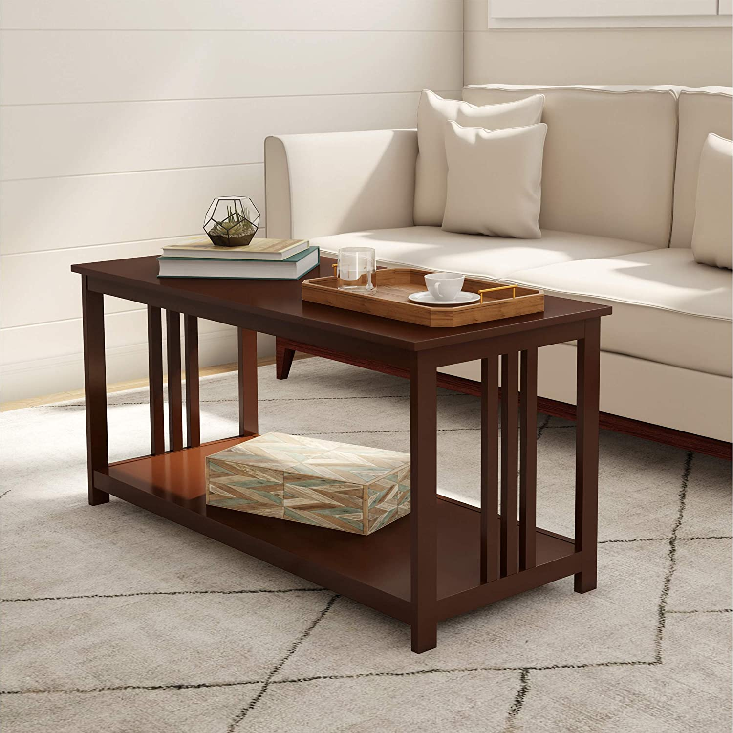 Lavish Home (Brown) Coffee 2 Tier Mission Style Sofa Table