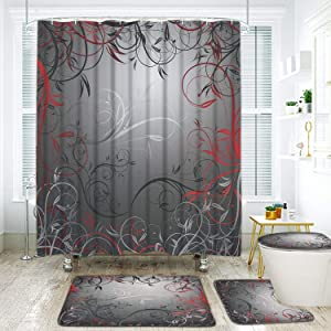 4 Pcs Red and Grey Black Leaves Shower Curtain Sets with Non-Slip Rug, Toilet Lid Cover and Bath Mat, Mystic Vine Shower Curtain with 12 Hooks Waterproof Durable Shower Curtain for Bath Room