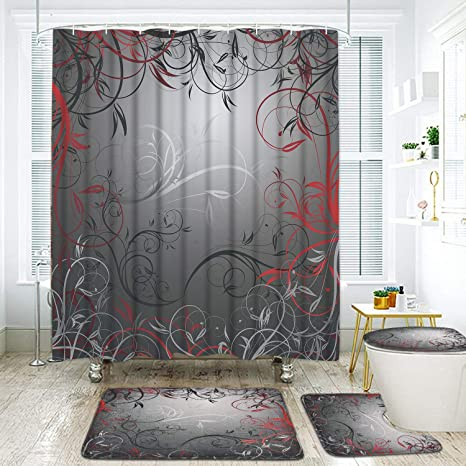 4 pcs red and grey black leaves shower curtain sets with non slip rug toilet lid cover and bath mat mystic vine shower curtain with 12 hooks