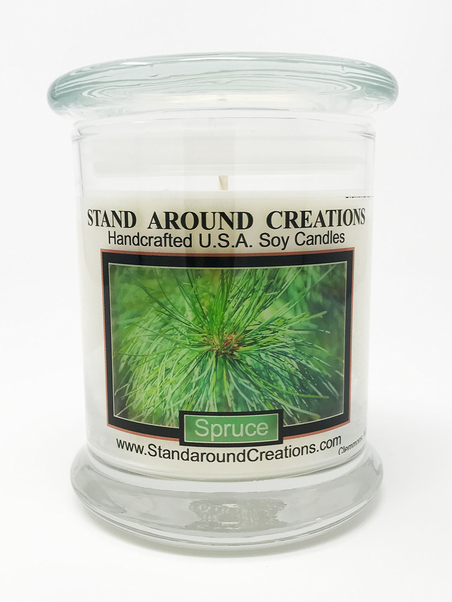 Premium 100% Soy Candle - 12 oz. Status Jar - Spruce: More complex than a typical Frasier or Douglas Fir. Capture the spirit of the holidays. Made w/natural essential oils.
