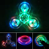 Crystal Led Light Fidget Spinner Toy Hand Tri Spinner Single Finger Fast Bearings Anxiety Relief EDC Toys for Children and Adults (Crystal-White)