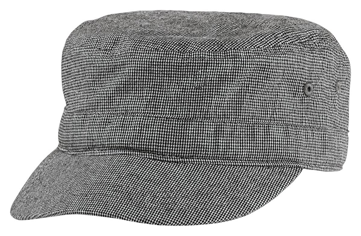 f346abae62814 District Threads DT619 - Houndstooth Military Hat - Black Charcoal - OSFA  at Amazon Men s Clothing store  Military Apparel Accessories