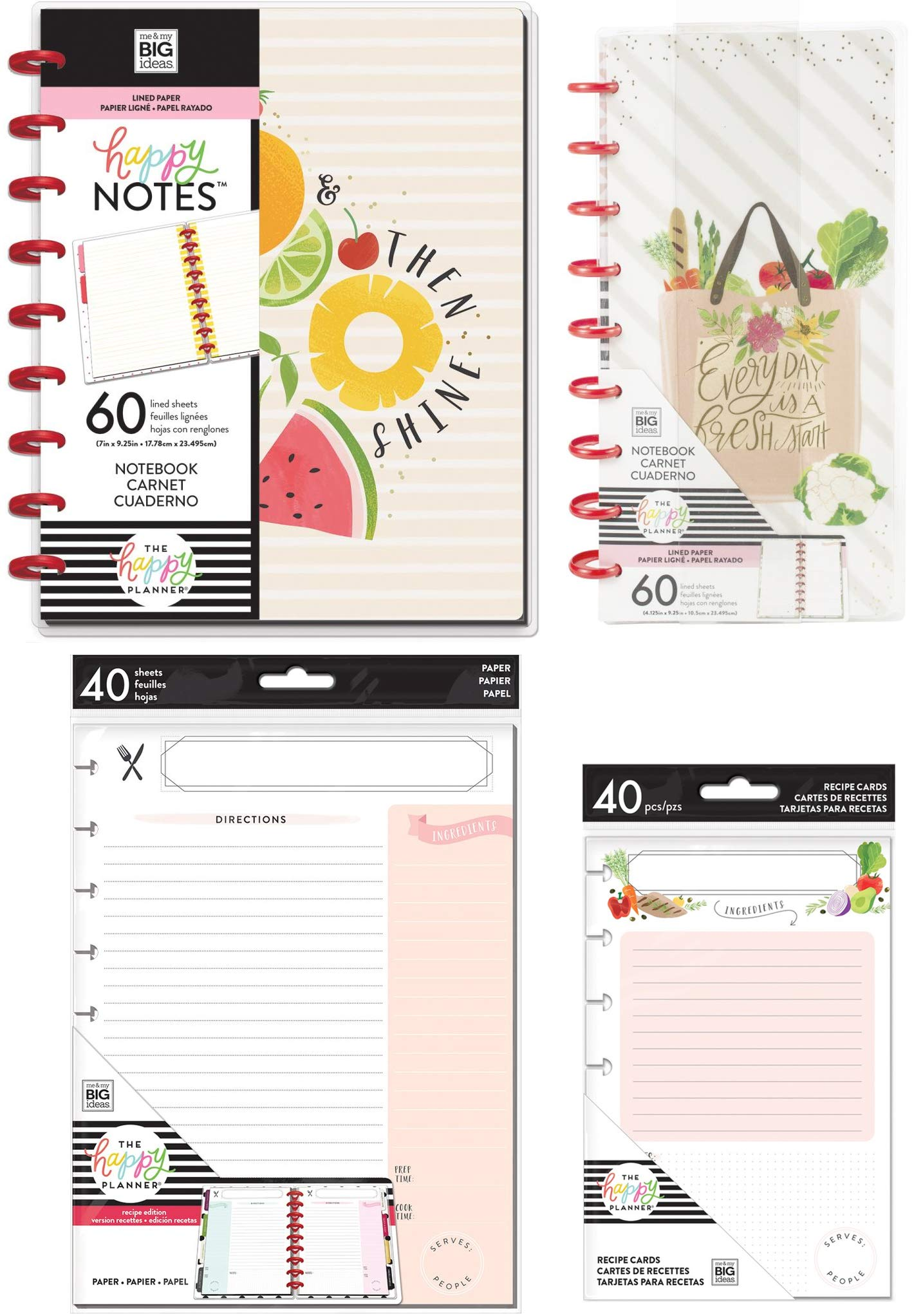MAMBI Classic Happy Notes Foodie Notebook, Foodie Half Sheet Notebook, Recipe Cards, Recipe Note Paper - 4 Items by MAMBI