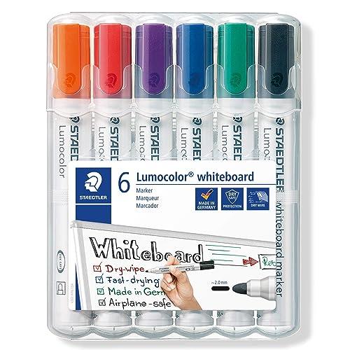 Staedtler Lumocolor 351, Marqueur pour tableau blanc  effaçable à sec, Sans xylène ni toluène et quasi inodore, Set de 6 couleurs, pointe ogive 2 mm, 351 WP6