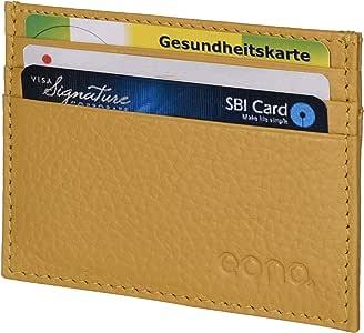 Eono by Amazon - Tarjetero de Cuero con Compartimento para Billetes para Mujer y Hombre con diseño Plano y protección contra Lectura RFID (Amarilla)