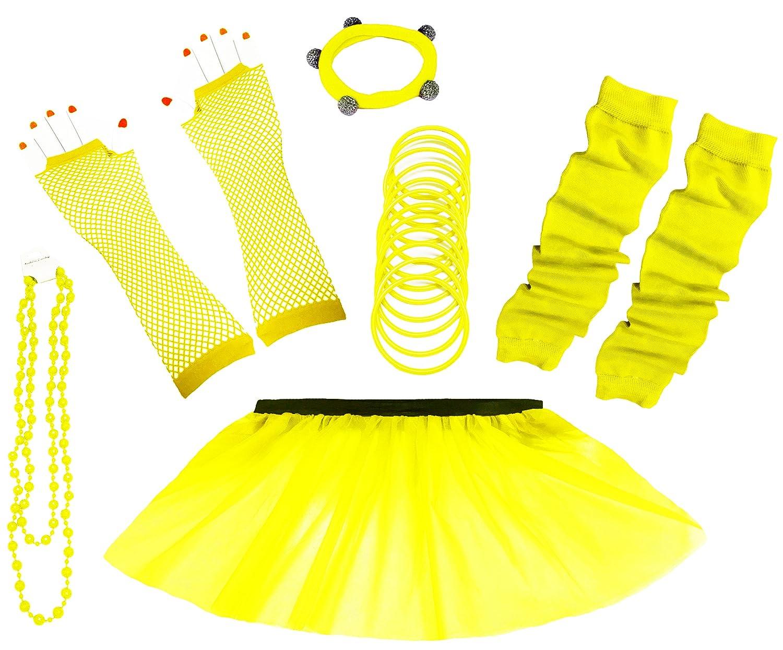 A-Express 80er Damen Neon T/üt/ü Rock Ebene Beinstulpen Handschuhe Halskette T/üll Fluo Ballett Verkleidung Party Tutu Rock Kost/üm Set 36-44, Blau
