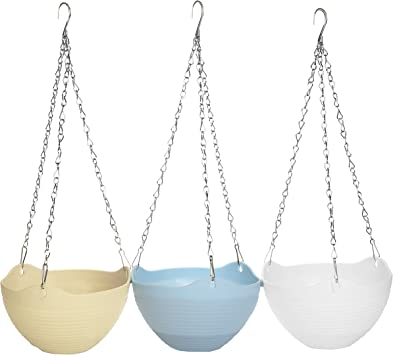 MyGift Set of 3 Colorful Self-Watering Hanging Planter Pots with Metal Chain