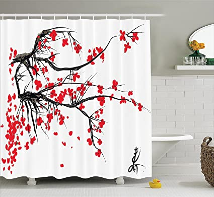 Ambesonne Nature Shower Curtain, Sakura Blossom Japanese Cherry Tree Garden  Summertime Vintage Cultural Print,