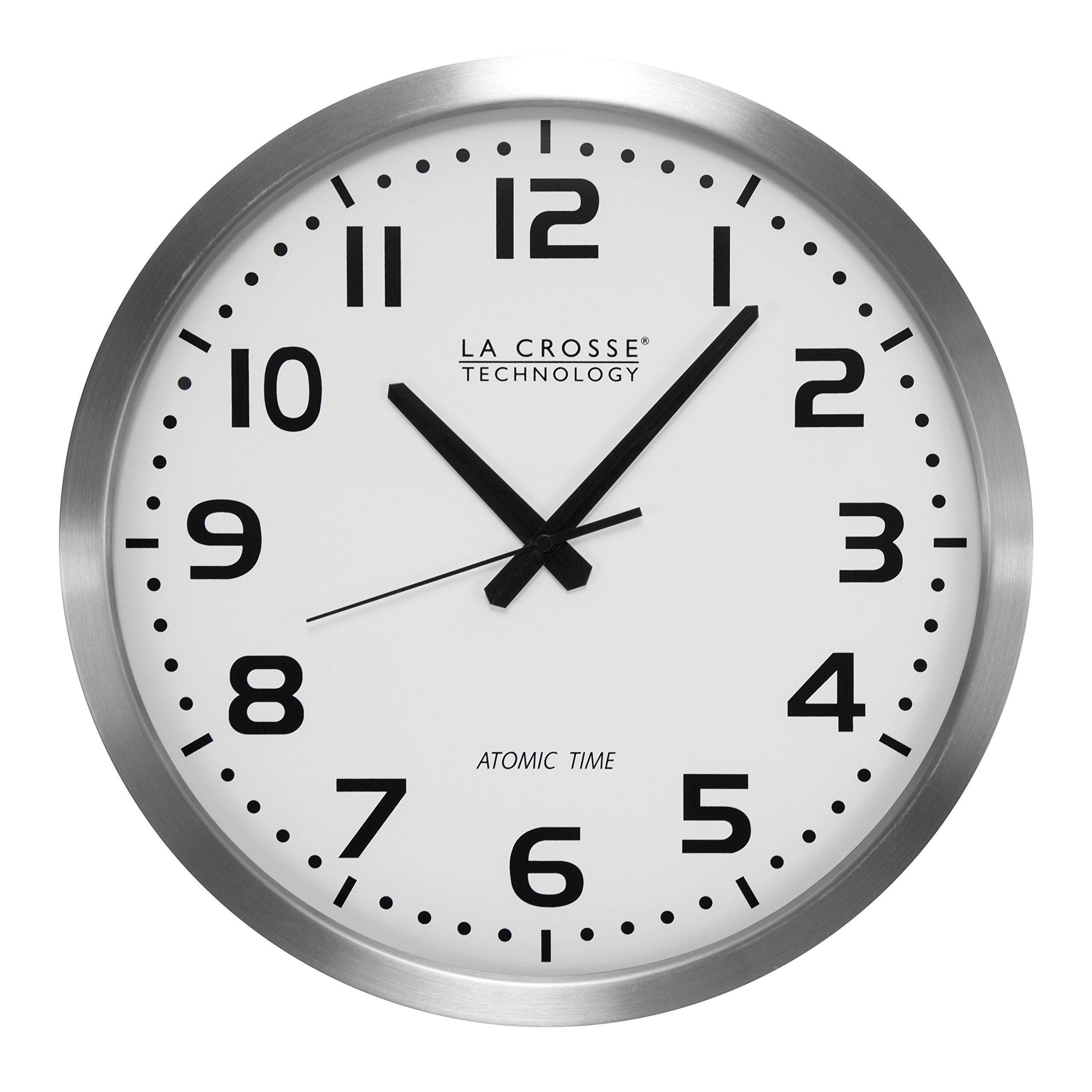 La Crosse Technology WT-3161WH 16 Inch Stainless Steel Atomic Clock - White Dial by La Crosse Technology