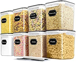 Cereal Container Food Storage Containers, Blingco Airtight Dry Food Storage Containers Set of 8 (2.5L/85oz) for Flour, Sugar, Cereal and Pantry Storage Containers with Black Locking Lids