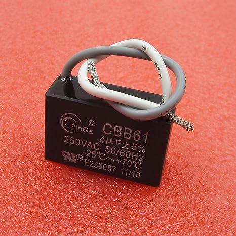 4UF CBB61 AC 250V Rectangle Non Polar Motor Strating Capacitor