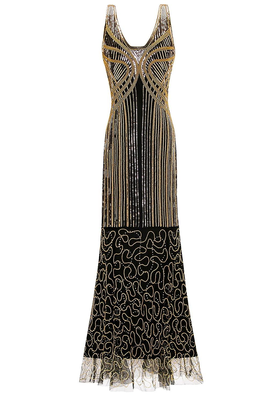 Metme Women's Vintage 1920s Inspired Sequins Art Deco Mermaid Evening Party Dress