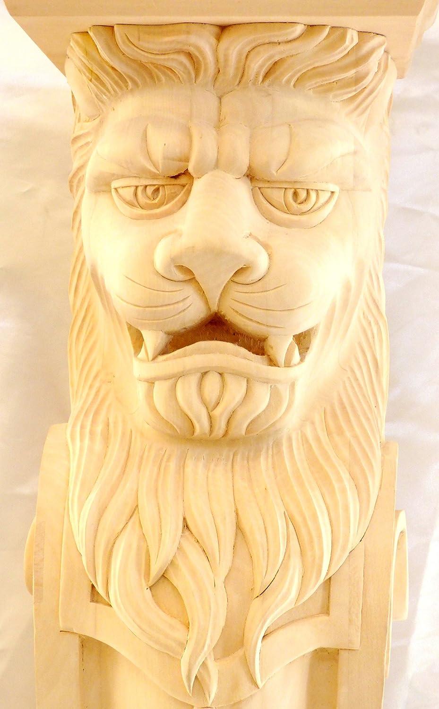 Hand Carved Hard Wood Lion Base Mantel Corbel Fireplace Island Onlay