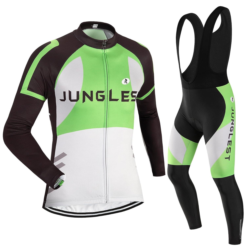 Cycling Jersey Set Wen長袖( S ~ 5 X L、オプション:よだれかけ、3dパッド) n44 B00TLR1L10  タイプ:セット(フリース&ブラックビブ) (3D pad)(Chest 50-53inchs)