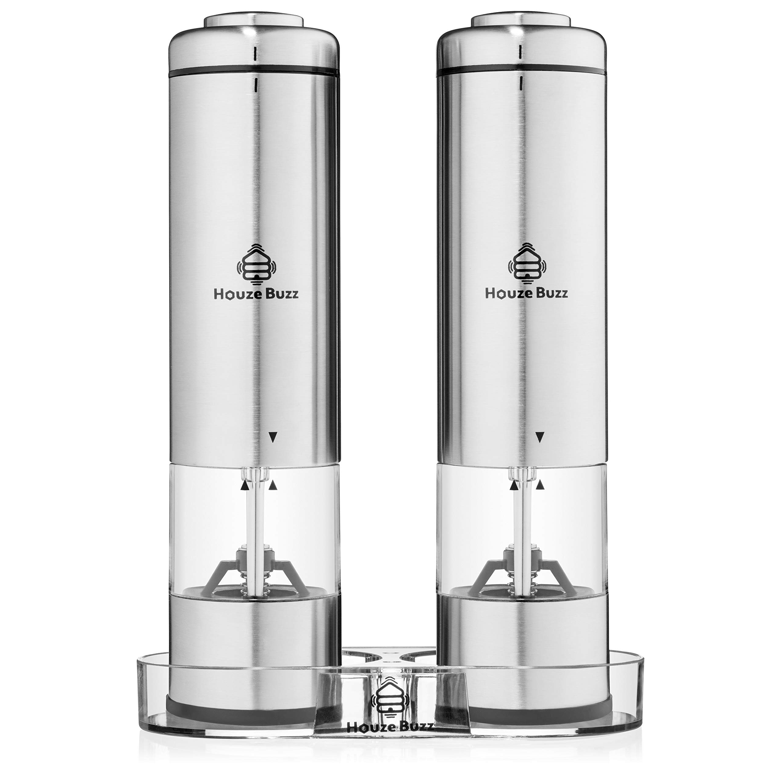 Stainless Steel Salt and Pepper Grinder Set by Houze Buzz - Mill Holder - Battery Operated -LED Light with Adjustable Coarseness and One Touch Push Button Operation by Houze Buzz