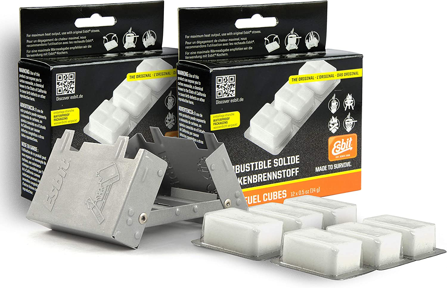 Esbit Ultralight Folding Pocket Stove Bundle with Extra Fuel Includes Thirty 14g Solid Fuel Tablets