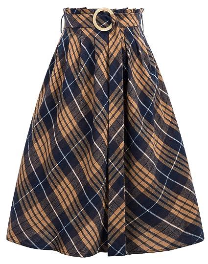 GRACE KARIN Falda Cintura Alta a Cuadros para Mujer Vintage ...