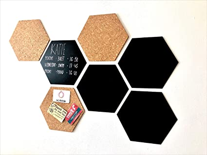 Scribble Hexagon Cork Board Chalkboard Pack Of 7 Amazon Co Uk