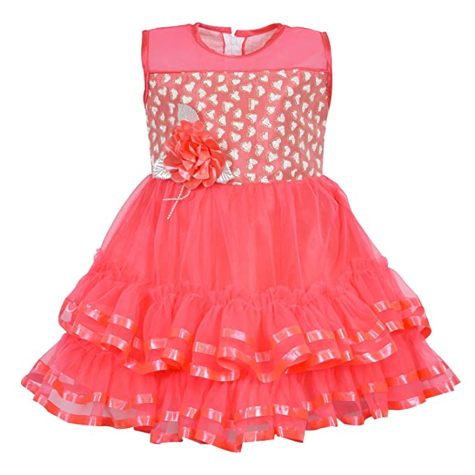0257f2f7f921 Wish Karo Baby Girls Party Wear Frock Dress DN (fe2451pch)  Amazon ...