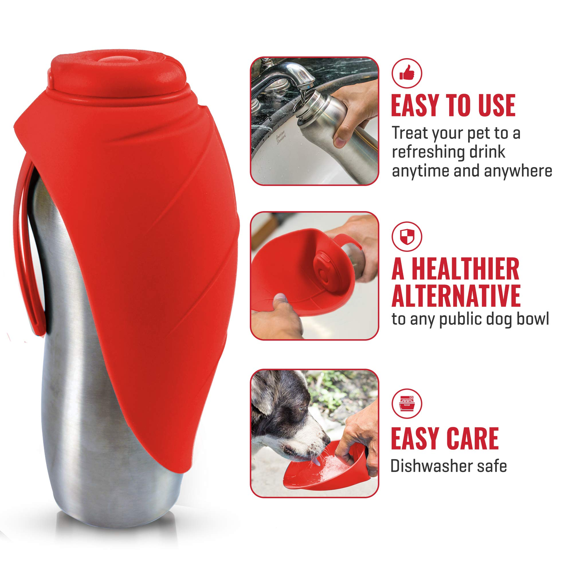 PupFlask Portable Water Bottle For Walking | 24 OZ Stainless Steel | Convenient Dog Travel Water Bottle Keeps Pup Hydrated | Portable Dog Water Bowl & Travel Water Bottle For Dogs (Quetzal Green) by Tuff Pupper (Image #3)