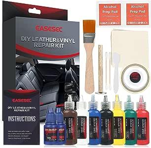 Leather Repair Kit,EASESEC 25 PCS Professional Vinyl Repair and Restoration Kit for Couches,Car Seats,Sofas,Handbags,2018 Upgrade Vinyl Pool Repair Kit.