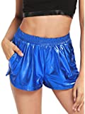 SweatyRocks Women's Yoga Hot Shorts Shiny Metallic Pants