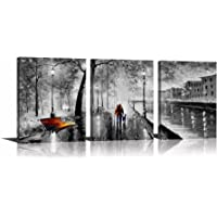 YPY 3 Panel Palette Knife Oil Paintings Abstract Modern City Street View Cityscape Building Artwork Walking Wall Art For Living Room
