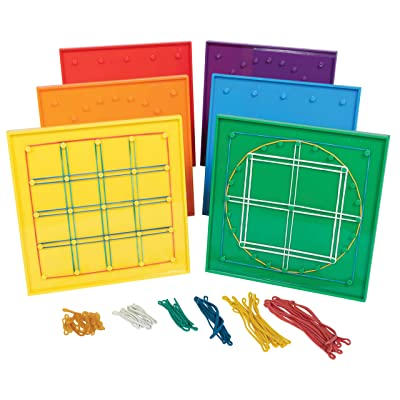 Edx Education Double-Sided Geoboards - 5 x 5 Grid/24 Pin Circular Array - Set of 6 - Includes Rubber Bands - Ideal for Ages 5+ - Geometry Math Manipulative - Teach Angles and Symmetry: Industrial & Scientific