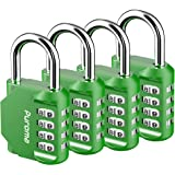 Puroma 4 Pack Combination Lock 4 Digit Padlock for School Gym Locker, Sports Locker, Fence, Toolbox, Case, Hasp Storage…