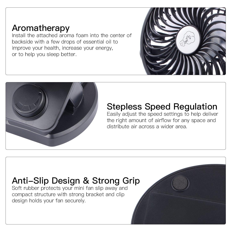 USB Ventilator, Tischventilator, leise Schreibtischventilator batteriebetrieben (5000mAh insgesamt), bis max.32 Std. Laufzeit, 360 °drehbar und schwenkbar, Windstärke in 4 Stufen, wiederaufladbare mini Ventilator für Schlafzimmer, Büro, Kin