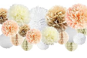 "30 Pcs Tissue Paper Pom Poms Kit (14"", 10"", 8"", 6"") Paper Flowers, Paper Lanterns and Honeycomb Balls, for Wedding, Bridal Shower, Birthday, Baby Nursery Decor - Champagne, Peach, Ivory, White"