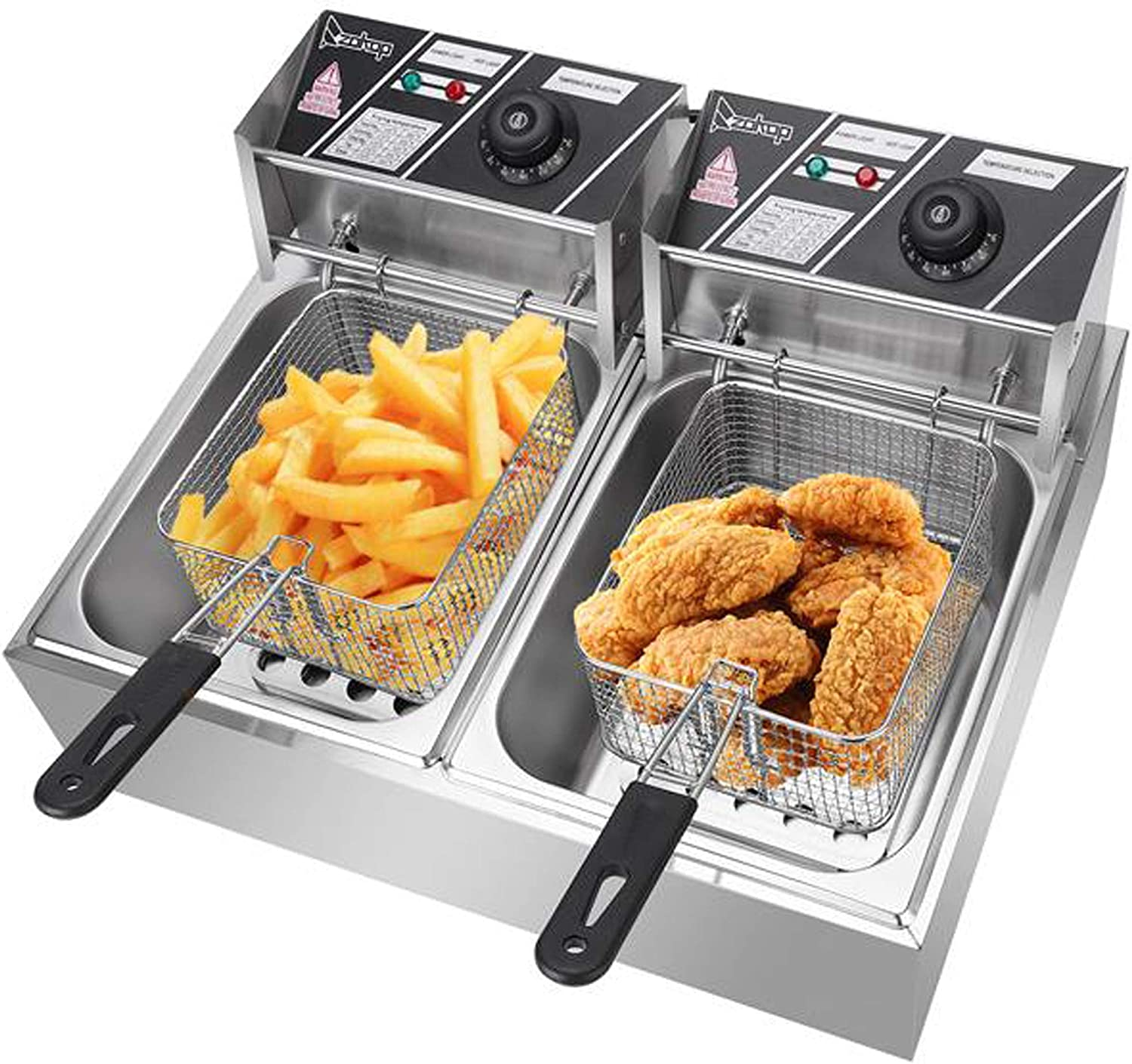 Lucakuins 2500W Countertop Deep Fryer, 12L Electric Double Tanks Deep Fryer with Baskets for Turkey French Fries, Stainless Steel Oil Fryer Commercial Deep Fat Fryer for Restaurant Home Kitchen