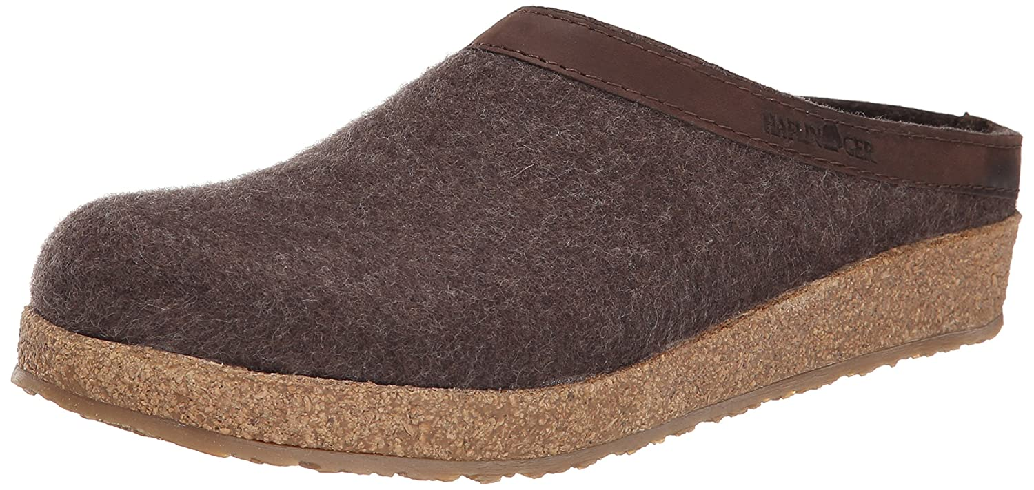 Smokey Brown Haflinger Unisex GZL Leather Trim Grizzly Clog