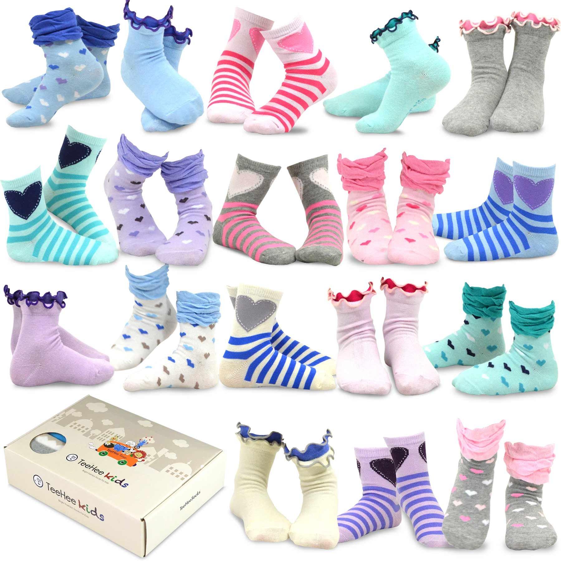 TeeHee (Naartjie) Kids Girls Fashion Variety Cotton Crew 18 Pair Pack Gift Box (6-8 Years, Hearts)