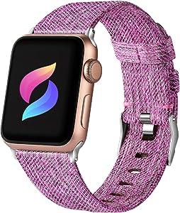 Haveda Fabric Compatible for Apple Watch Band 44mm Series 6 Series 5/4, Soft Woven for Apple watch SE, iwatch bands 42mm womens, Sport cloth for Apple Watch band 42mm Series 3 2/1 (Sakura Purple)