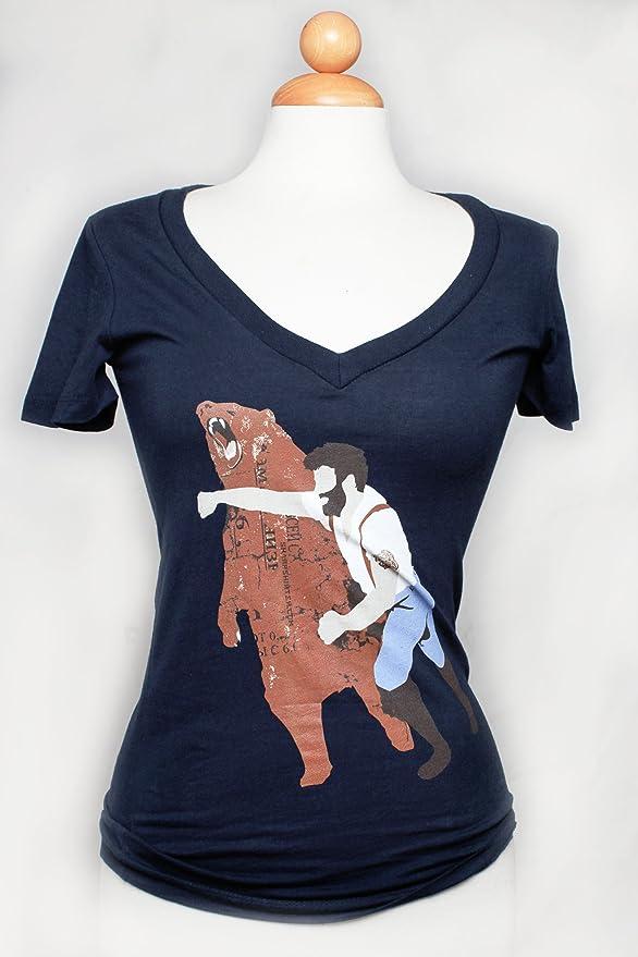 3ad4449d7de Amazon.com  Haymaker Womens Deep V-neck T Shirt Bear Punch Tee Funny  Shirts  Clothing